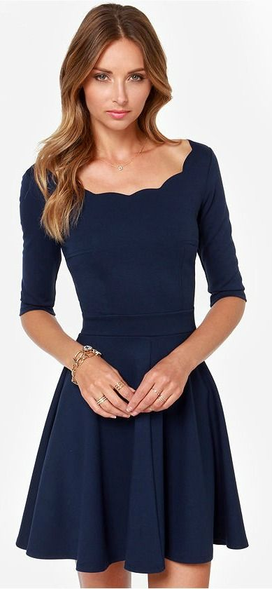 navy blue scalloped