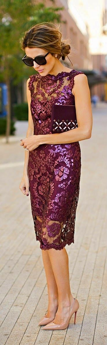 burgundy lace and sequin