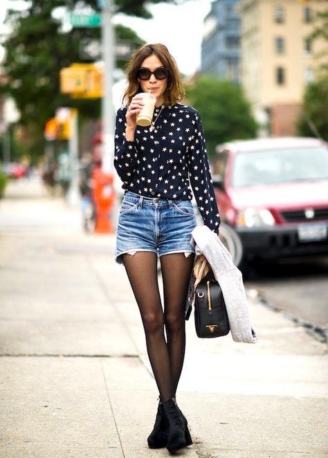 denim shorts and tights