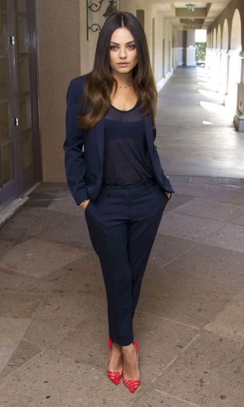 blue pant suit